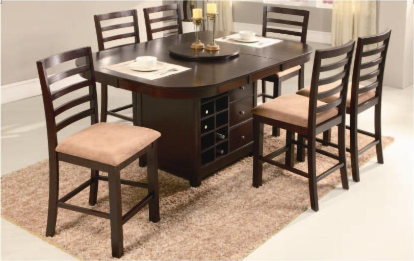 NEWMAN'S FURNITURE - ROUND PUB DINING TABLE W/LAZY SUSAN